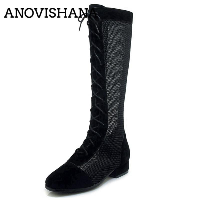 fe5c606d5 ANOVISHANA Spring Summer Boots Female Mesh Knee Boot Flat Heels Mesh Lace  Up Shoes Footwear Flock Sexy 2019 Ladies Shoes A1680 Fringe Boots Boot  Socks From ...