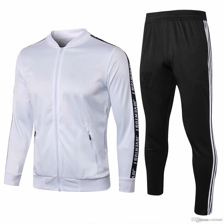 b03549dca53 Juventus Long Sleeve Jacket Suit adult Kit Soccer Jersey Training Uniform  2018 19 juve jacket Football Suits Jacket+Pants