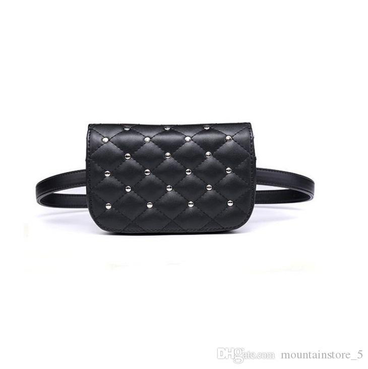 2c9766d68218 Hot Waist Bag Women Rivets PU Leather Belt Bag Waist Pack Travel Belt  Wallets Fanny Bags Ladies Fit 5.5 Inches Phones Retail Belt Bags Kavu  Backpacks From ...