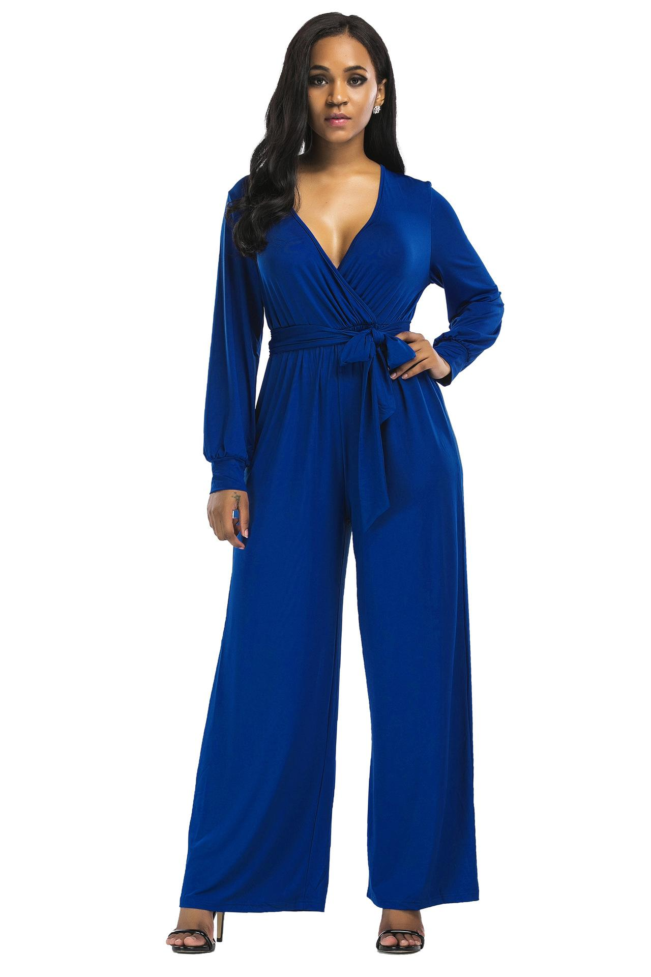 7a6e370d116 2019 Wide Legs Jumpsuit V Collar Women Fashion Pants Full Sleeve Spring  Autumn Wear Natural Color Casual Apparel Women One Piece Jumpsuits From  Hentika