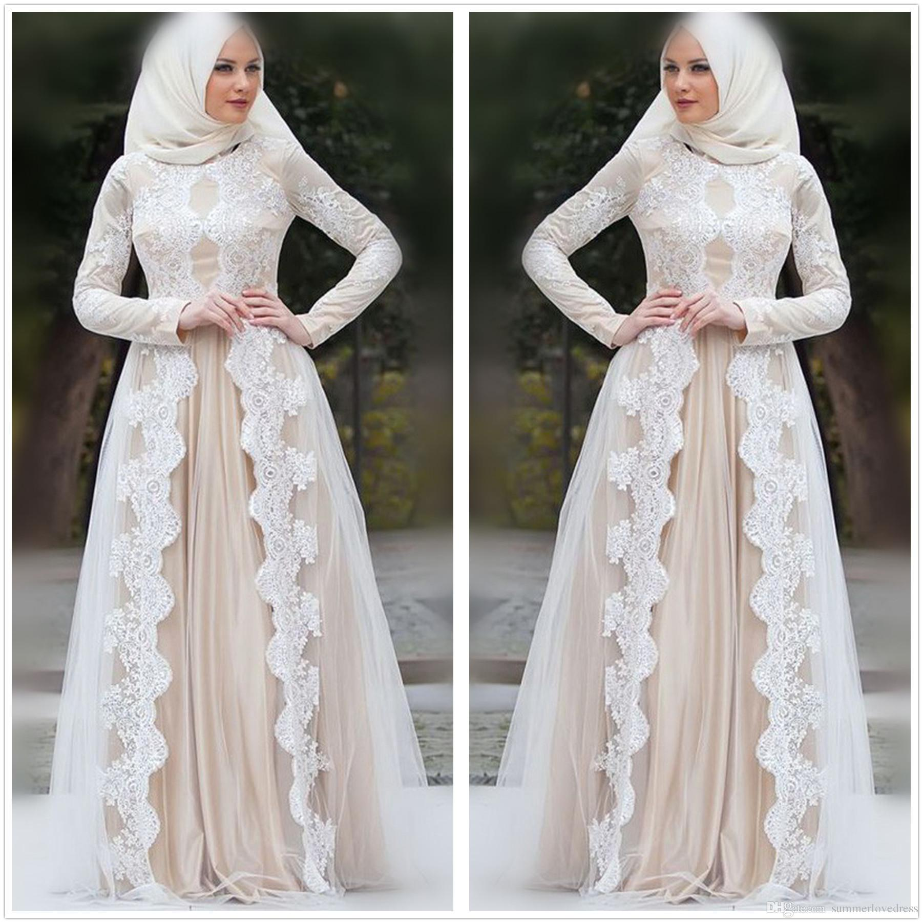 127386430e1 Discount 2019 Elegant Long Sleeves Lace A Line Wedding Dresses Champagne  Tulle Applique Floor Length Muslim Wedding Bridal Gowns Vintage Inspired  Wedding ...
