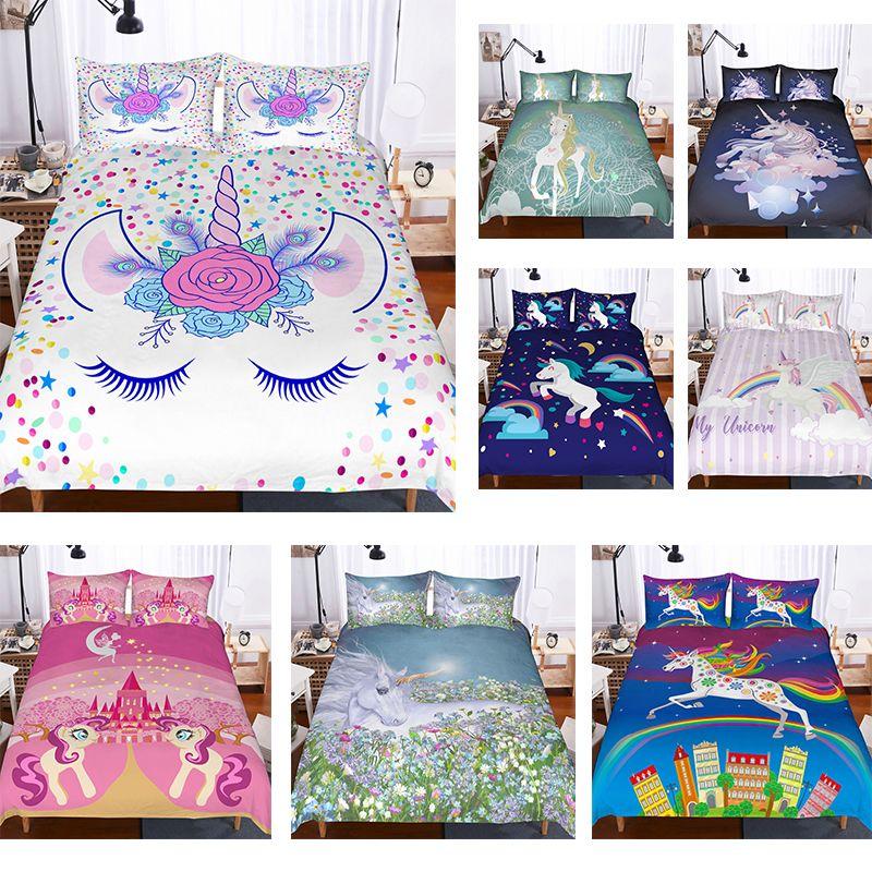3d Unicorn Bedding Sets Duvet Cover Set Lifelike Bedclothes With