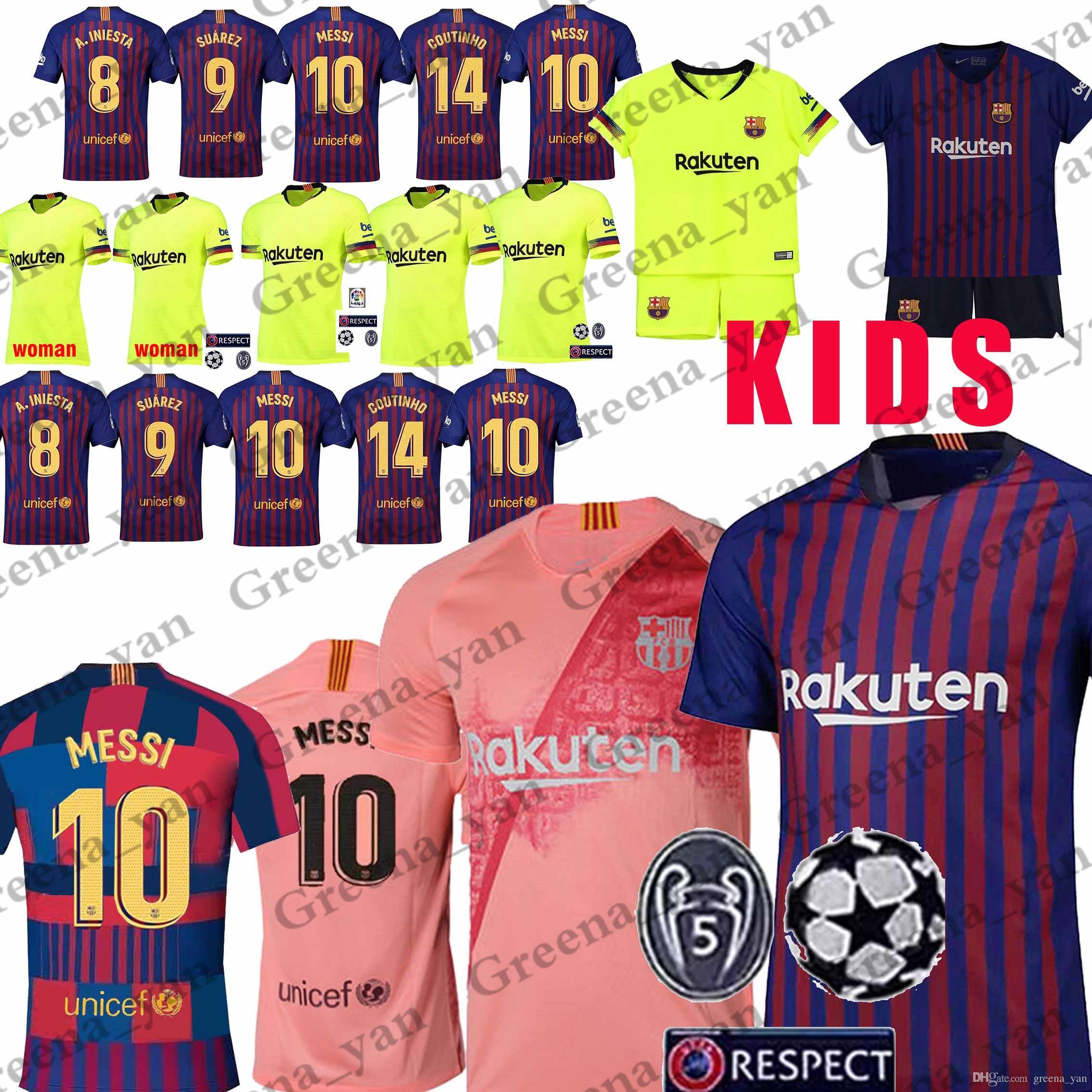 8ce5deee3c Compre Promoção 10 Messi Barcelona Futebol Jersey 8 Iniesta 9 Suarez 26  MALCOM 11 Dembele Coutinho Camisas De Futebol Homens Mulheres Crianças Kits  De ...