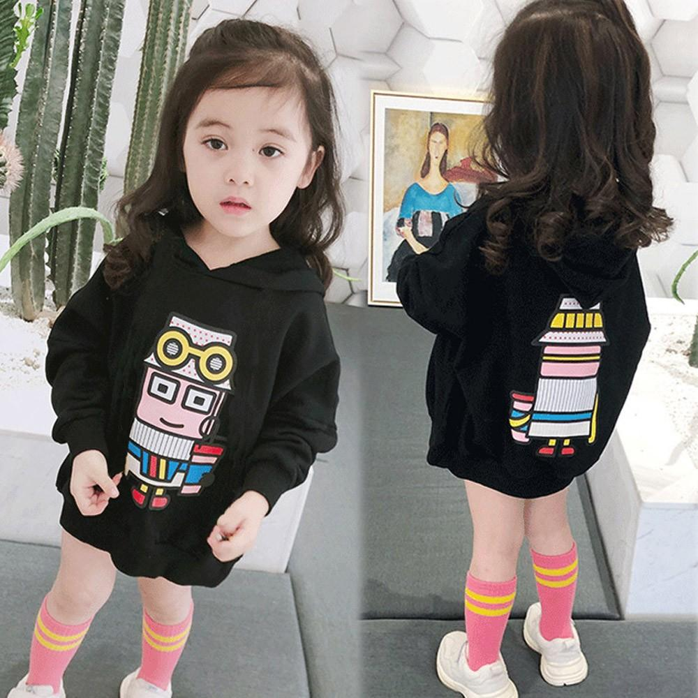 8b3dd48d5a592 MUQGEW(MUQGEW) fashion Toddler Baby Kid Girls Cartoon Robot Print Hooded  Pullover Sweatshirt Tops Costume pour enfants#g6