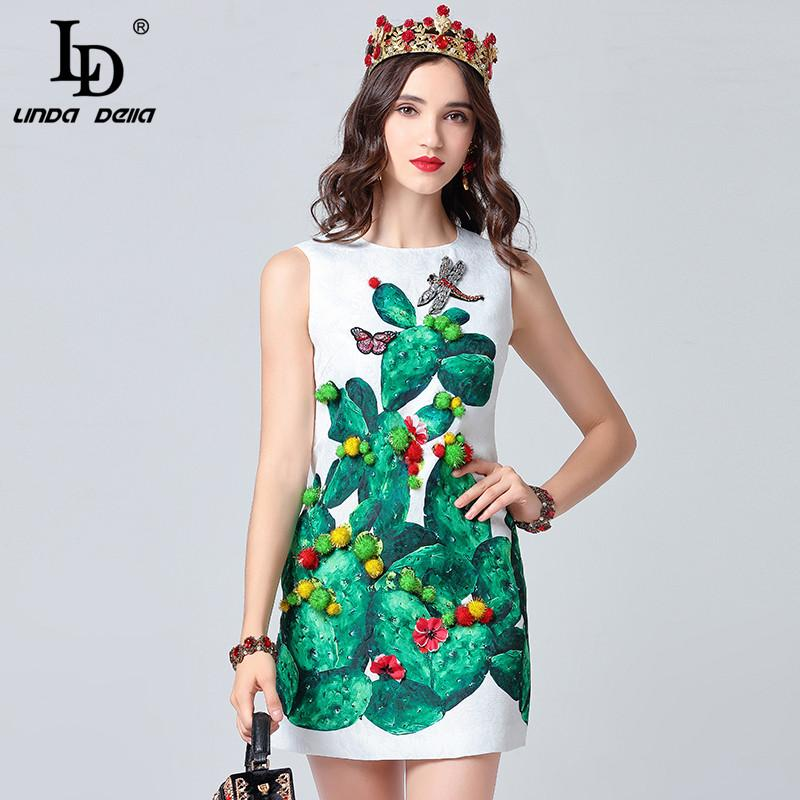 f354ccc65a233 LD LINDA DELLA 2019 Runway Summer Dress Women s Sleeveless Tank Crystal  Dragonfly Plant Print Casual Dresses vestido Short Dress
