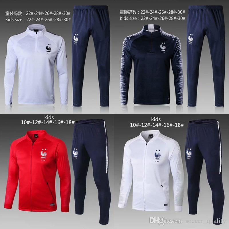 41f7b0c660a 2018 Kids French World Cup Champions Tracksuit 2 Stars Two Home GRIEZMANN  18 19 POGBA DEMBELE MBAPPE KANTE GIROUD Matuidi Boys Training Sui French  Soccer ...