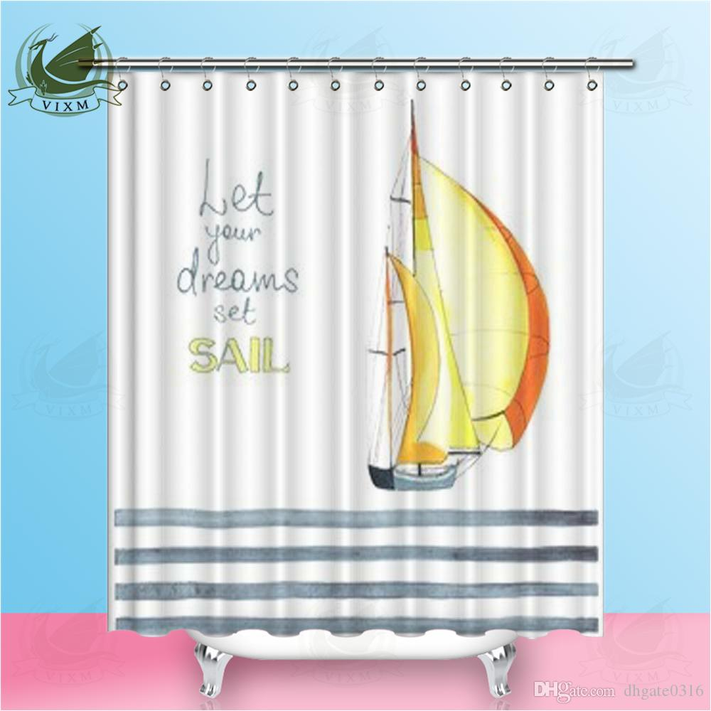 2019 Vixm Mediterranean Sailing Seagull Shower Curtains Simple Striped Nordic Style Waterproof Polyester Fabric For Home Decor From Dhgate0316