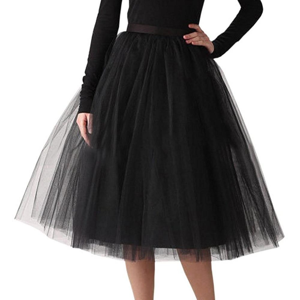 Womens High Quality Pleated Gauze Knee Length Skirt Adult Tutu Dancing Skirt fashion Ladies Half-length Mesh Tutu dancing