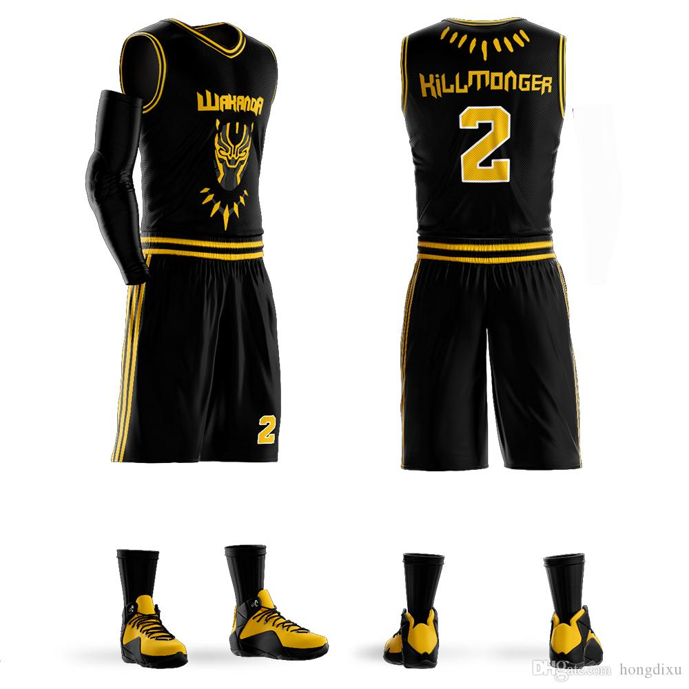 c41e033374ca 2019 Custom Men Youth Basketball Jersey Black Panther Wakanda T Challa  Killmonger Movie Basketball Sets Uniform From Hongdixu