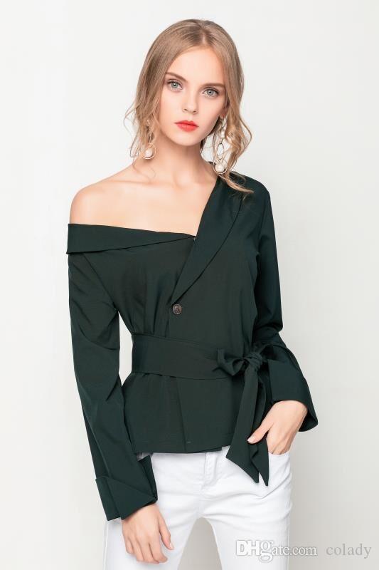 fd335843de9d Black T Shirt Women Autumn 2018 New Arrivals Fashion Slash Neck Long Sleeve  Lace Up Tops Female Off Shoulder T Shirts Streetwear Yellow T Shirt Dress  Dress ...