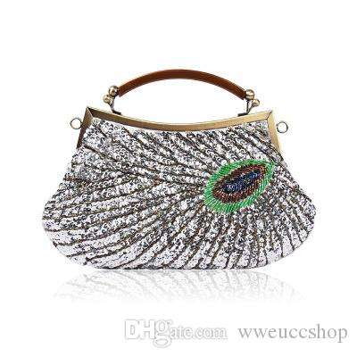 cf346cf3fa Sale European And American Fashion Ladies Ethnic Style Retro Beaded Dinner  Bag Dress Bag Shoulder Diagonal Handbag Handbag Female Silver Clutch  Crossbody ...