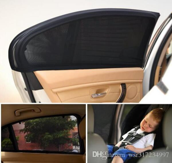 1Pair=2pcs Car Auto Window Side Parasol Mesh Black UV Visor Shade Protection Cover Shield Sunshade Protector by DHL