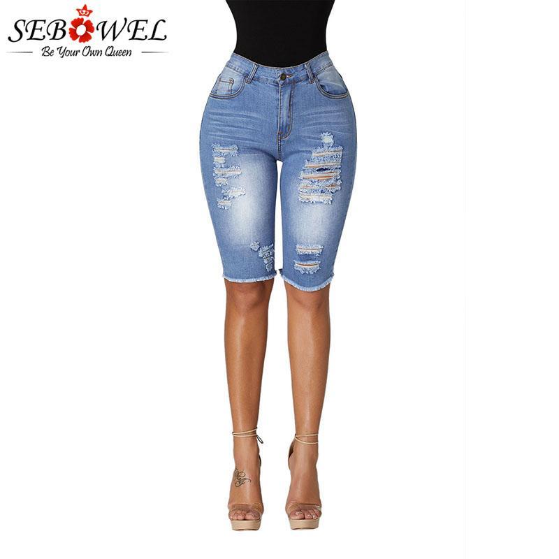 65b1ef56 SEBOWEL Wash Denim Destroyed Holes Half Shorts Jeans For Woman ...