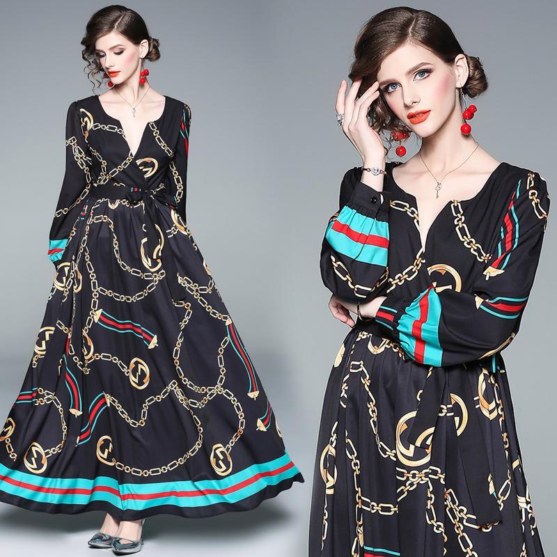 Black Dress 2019 Elegant Fashion Print Long Sleeve V Neck Women