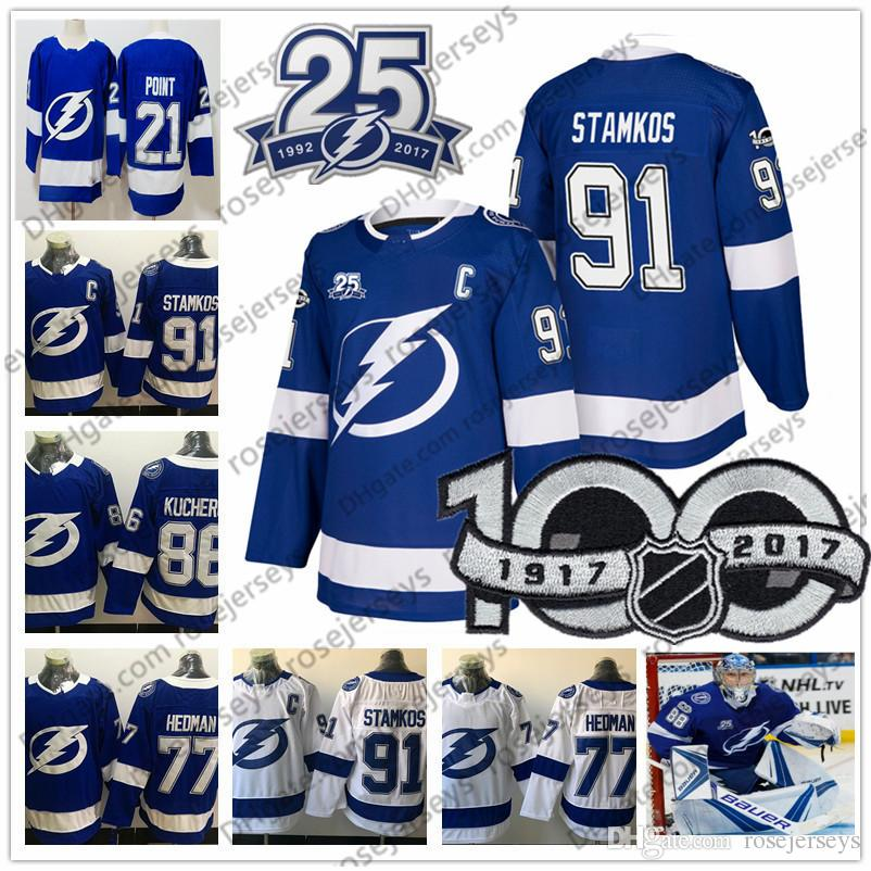 Tampa Bay Lightning 25th 100th Jersey  91 Steven Stamkos 86 Kucherov ... 09123bbb9
