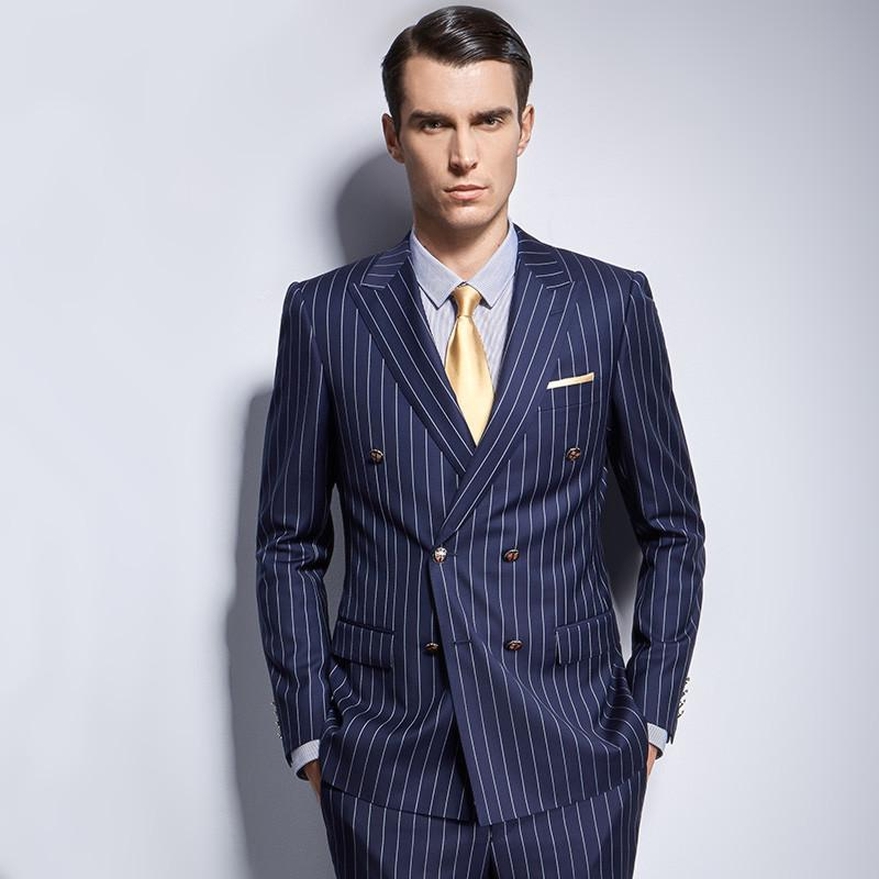 most fashionable sells modern and elegant in fashion Mens Stripe Suit Custom Made Royal Navy Mens Striped Suit,Tailored Double  Breasted Striped Men Suit Peak Lapel Bespoke