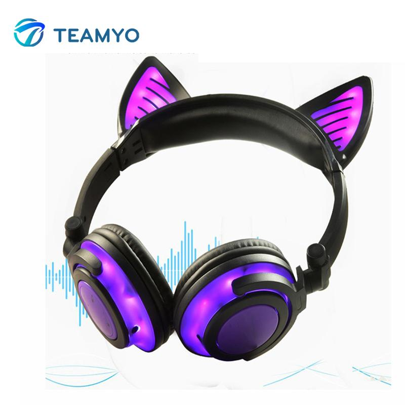 5011f4a4c9c Teamyo Bluetooth Earphone Cat Ear Wireless Headphones Microphone Flashing Glowing  Headset With LED Light For PC Laptop Adult Kid Waterproof Headphones Best  ...