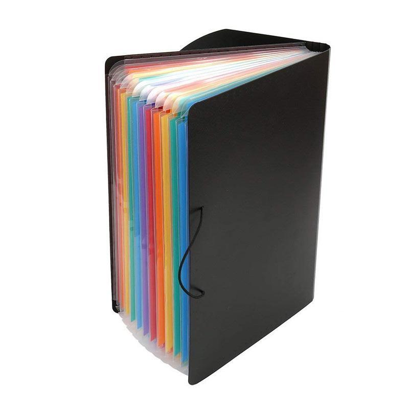 5c50beab03f8 13 Pockets Expanding Files Folder A4 Expandable Portable File Organizer  Multicolor Stand Plastic Business File Organizer Box