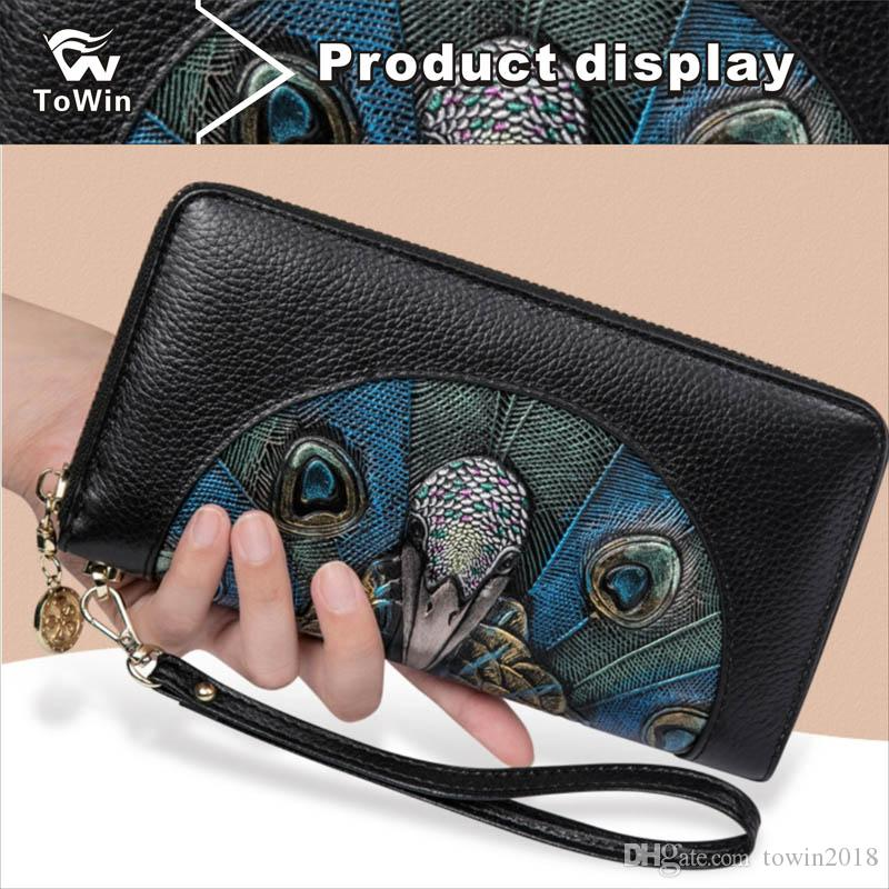 37bf34f6155 Brand Natural Style Wallet High Quality Genuine Leather Clutch Bag Cards  Storage Purse Tote Women Mini Embroidery Handbag Optional Handbags For Sale  Large ...