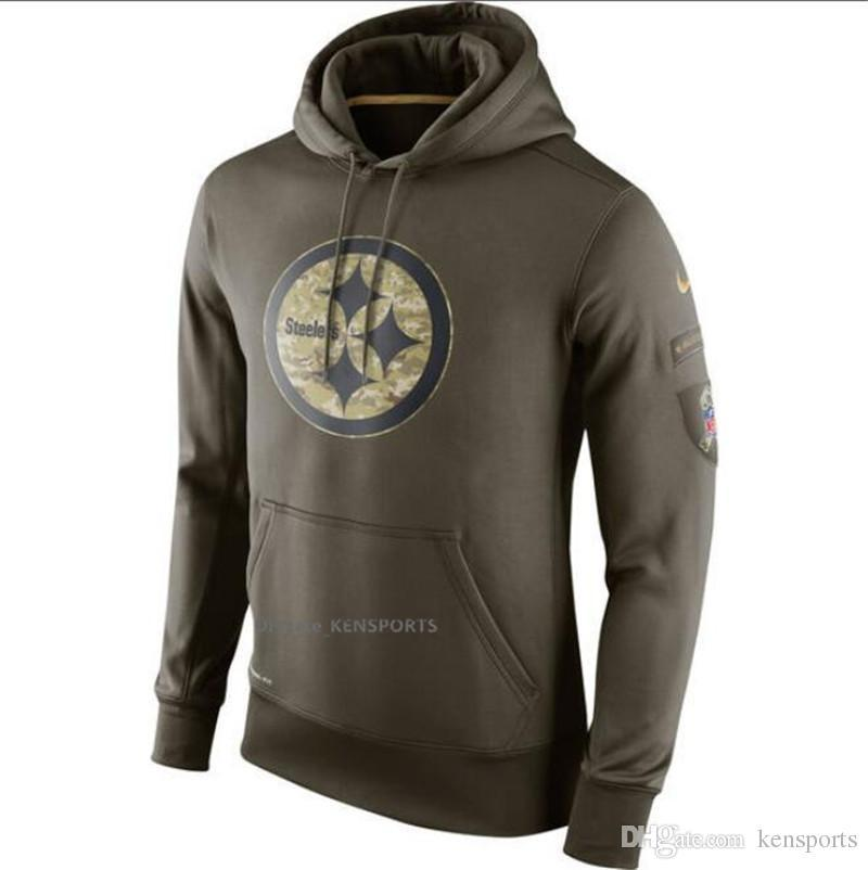 online store 9f9e8 d8da4 Men Women Youth Pittsburgh Steelers Olive Salute To Service KO Performance  Hoodie