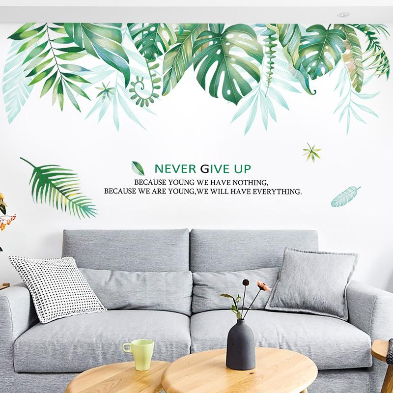 big 96*175cm wall stickers for children s bedrooms fresh large green leaf  living room ins background Home Decor wall art pictures wallpaper