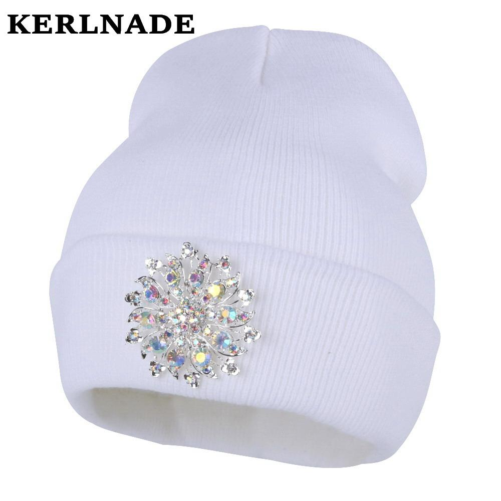 911d7b076e3c8 Women Fashion Beanies Bling Luxury Floral Winter Hat Girl Casual Skullies  White Navy Black Crystal New Winter Hats Woman Beanie S18120302 Ladies Hats  Crazy ...