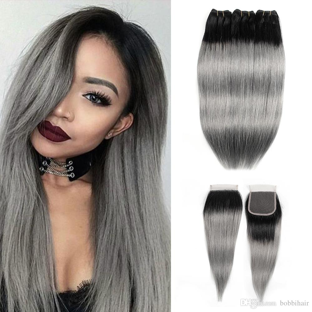 Ombre Hair Bundles With Closure 1B Grey Silver Pink Brazilian Straight Hair 3 Bundles With 4x4 Lace Closure Remy Human Hair Extensions