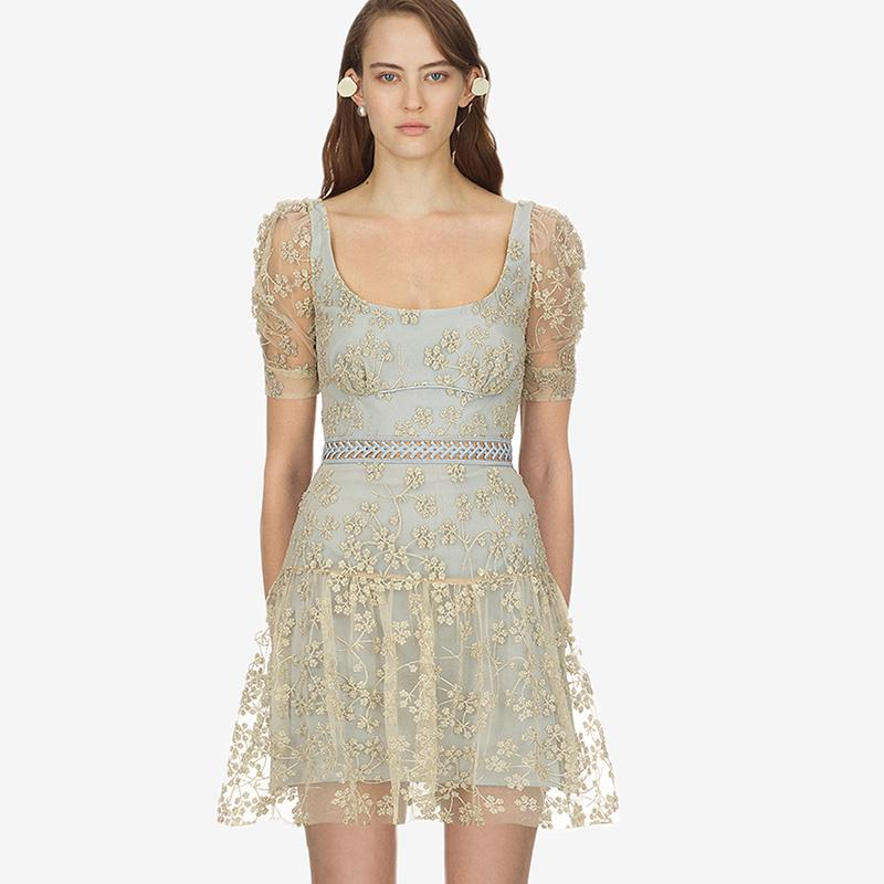 ed376e673f3b 2019 2019 Summer Newest Embroidery Gold Net Women Mini Dress Light Blue  Cute Dating Party Lace Dress From Clothes_zone, $65.33 | DHgate.Com
