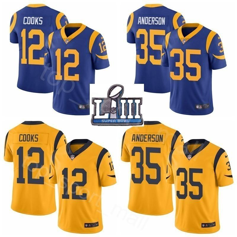 Liii Superbowl Los Jerseys Man Brandin 12 j Cooks Navy Football 35 Anderson C Patch Bowl Super Yellow Blue Gold 2019 Angeles Cj Rams