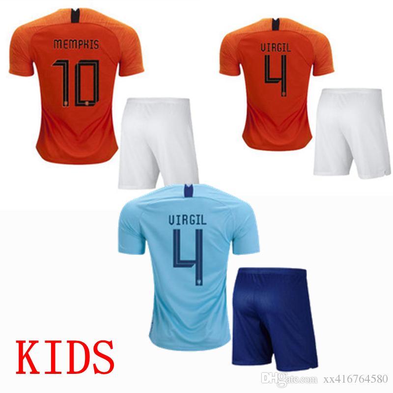 Compre 2018 2019 Holanda Crianças Camisa De Futebol Holanda Memphis VIRGIL  Frankie De Jong Futebol Meninos Camisa De Xx416764580 801d07fbbbe60