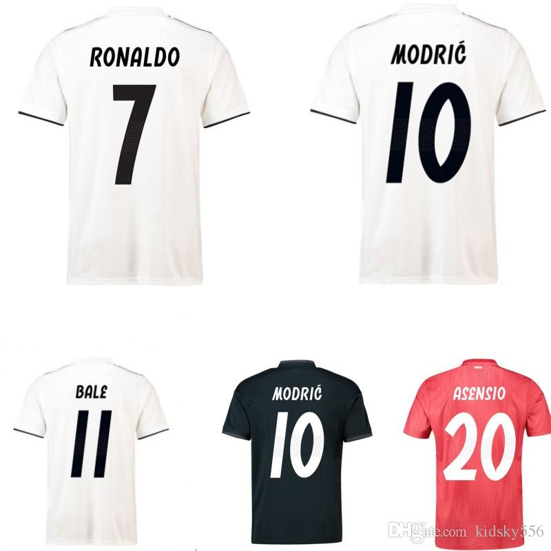 release date 43ea7 6b6ef 18 19 Real Madrid Soccer Jersey #7 NONALDO #8 KROOS #10 Modric football  shirt Short Sleeves men women kids baby Soccer Shirt Customized
