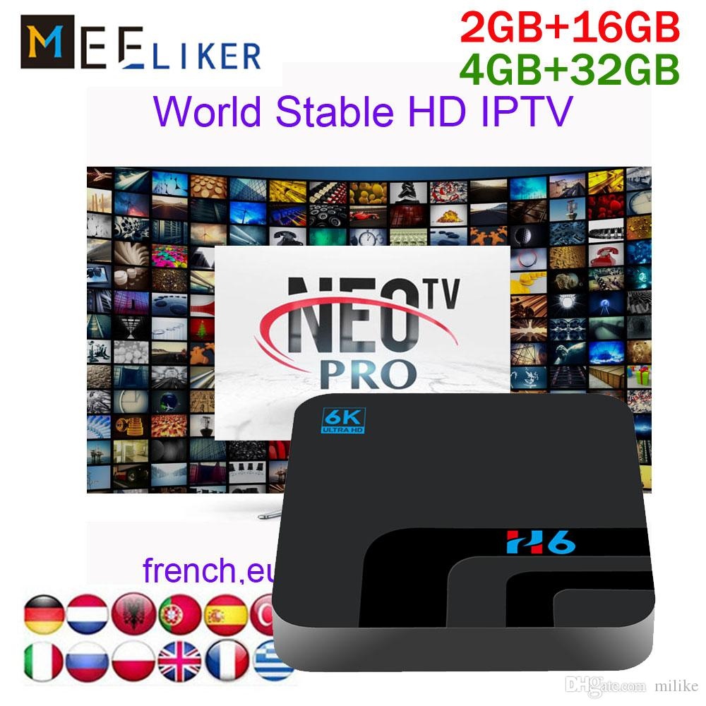 Wholesale streaming iptv box H6 4gb 32gb with NEOTV 1year subscription for  french african Turkish Indian arabic iptv box 2gb live stb
