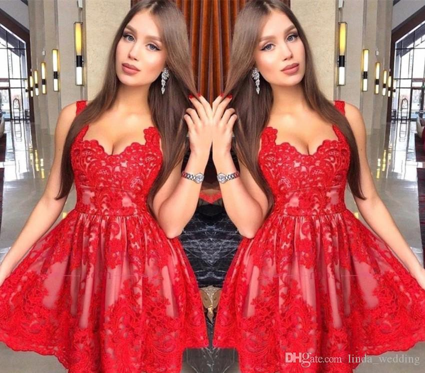 cd48f8dd089 Spaghetti Straps Red Lace Homecoming Dresses 2019 A Line Short Mini Juniors  Sweet 16 Graduation Cocktail Party Gowns Plus Size Custom Made Short Lace  ...