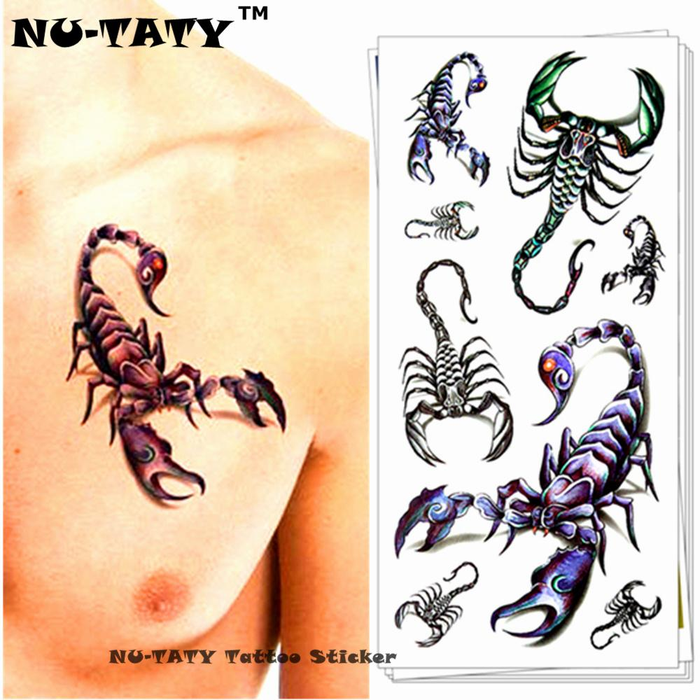 Nu-TATY Scorpion King 3d Tatuaje Temporal Body Art Flash Tattoo Sticker 19 * 9 cm Impermeable Fake Tatoo Decoración Del Hogar Etiqueta de la pared D19011202