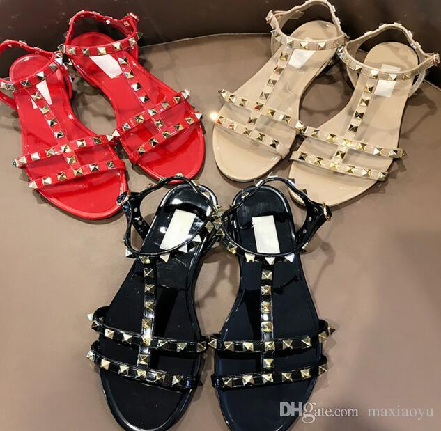 83e58e9b781e 2019 Summer Black RED NUDE BEIGE Rubber PVC Designer Flat Shoes Rhinestone  Studs Embellished Open Toe Gladiator Ankle Strap Sandals Nude Wedges Bridal  Shoes ...