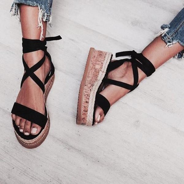 ad8c335f24f Summer Fashion Shoes Women's Strappy Peep Toe Espadrille Sandals Platform  Wedge Flat Shoes