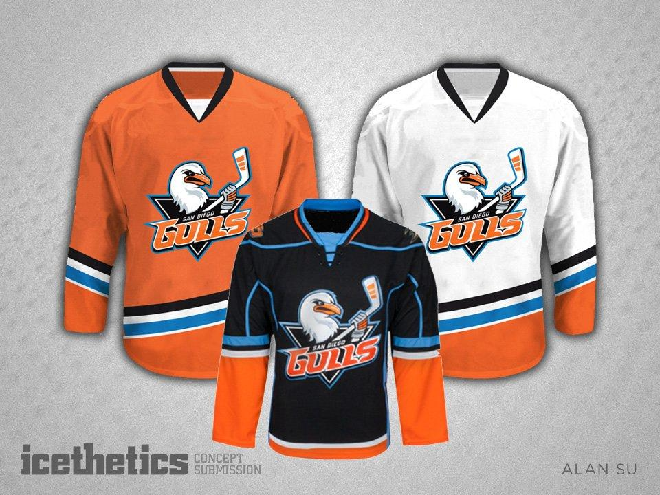 a69d8455b 2019 Men 2019 San Diego Gulls Jersey White Black Orange Blank Customize Any  Player Ice Hockey Jerseys From Xinkaili