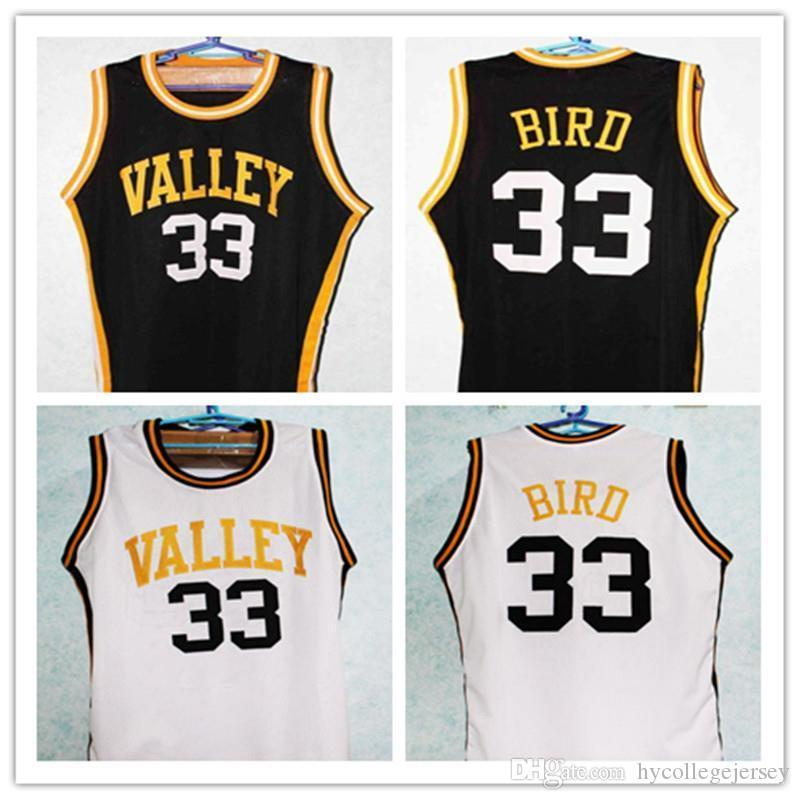 Cheap LARRY BIRD #33 VALLEY HIGH SCHOOL Retro vest T-shirt BasketballJERSEY Black white Customize any number size and player name