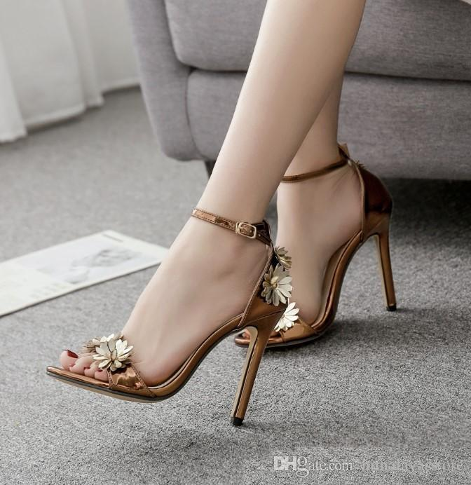 f4be37234c sexy pumps fashion luxury designer women shoes copper flower ankle strappy  high heels size 35 to 40