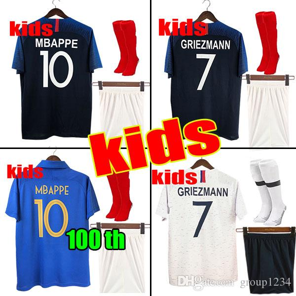 outlet store 91a48 2db85 1919 2019 Two stars 2 GRIEZMANN MBAPPE Kids France soccer jersey boys child  Centenary POGBA Long sleeve football shirt maillot de foot 19 20