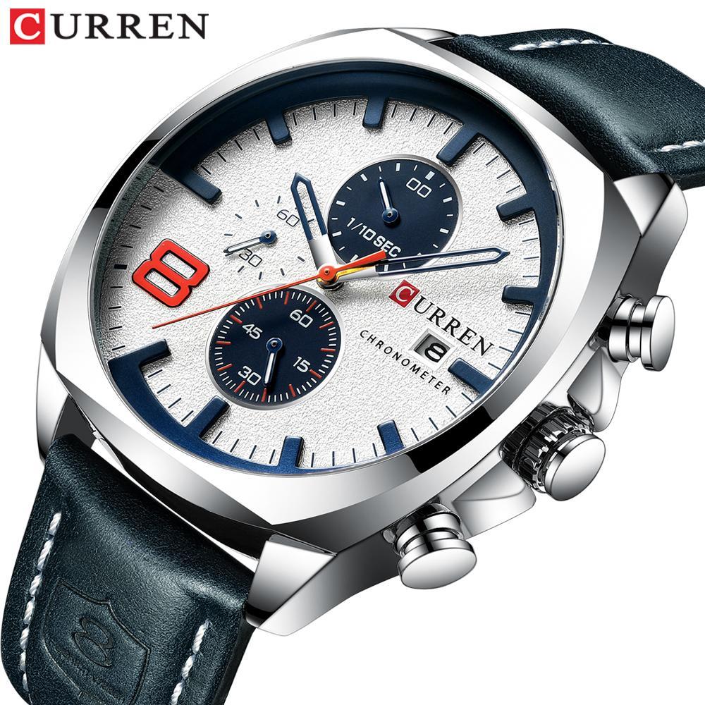 ad11a04b7cff Compre 2019 Relojes Para Hombres De Primeras Marcas De Lujo CURREN Nuevo  Reloj De Cuarzo De Cuero Para Hombres Reloj Deportivo Relogio Masculino Hora  ...