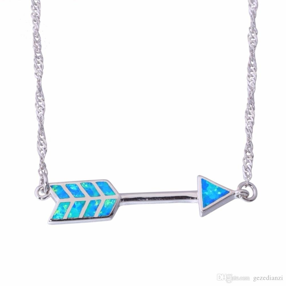 Simple And Unique Bow And Arrow Design Blue Fire Opal Pendant Necklace 925 Sterling Silver Filled Jewelry Necklace
