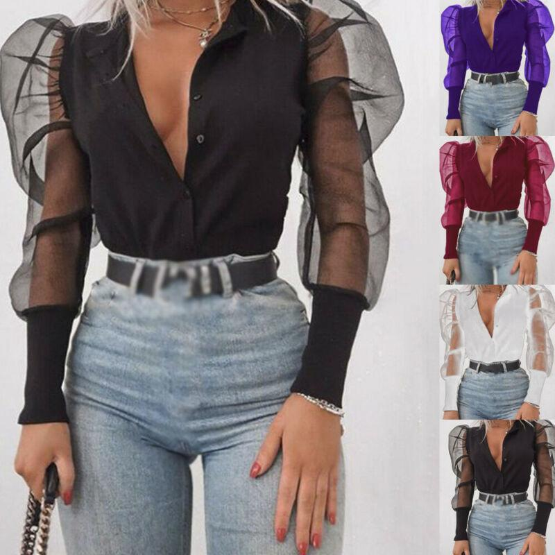 Hot Women's Sexy Tulle Ruffle Long Puff Sleeve Shirt V Neck T Shirt Loose Casual Tops Office Lady