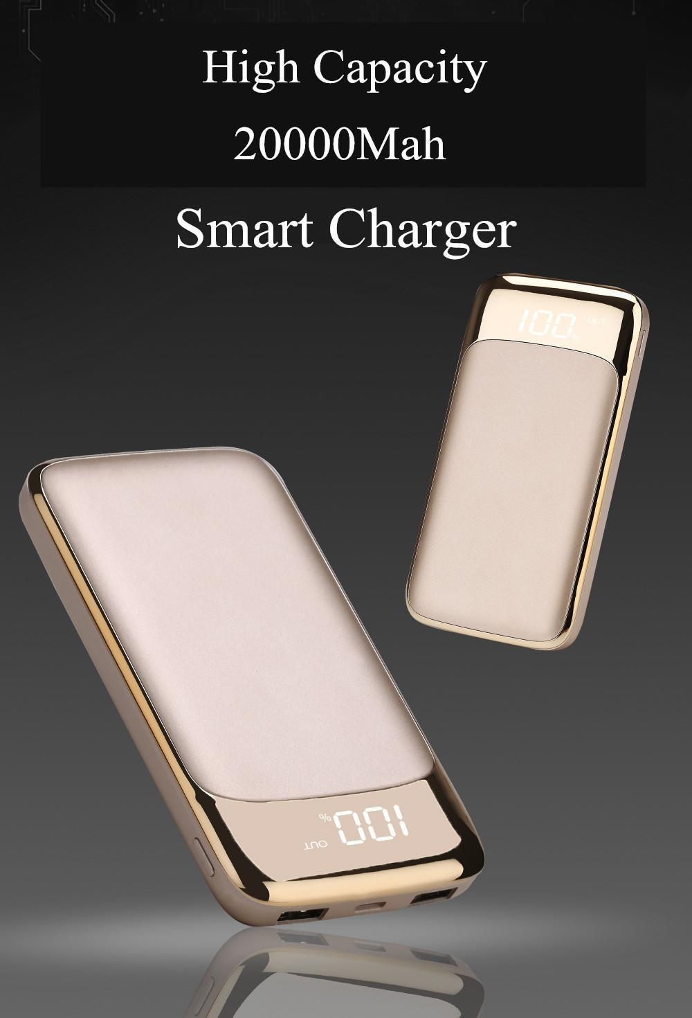 2019 Power Bank External Battery PoverBank 2 USB LCD Powerbank Portable Mobile phone Charger for Xiaomi MI iphone 7/8 X