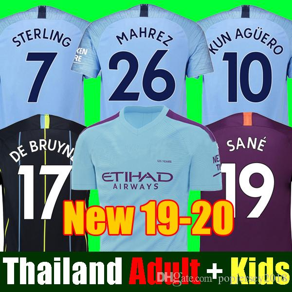 brand new 489ea a6c0d Thailand JESUS DE BRUYNE KUN AGUERO manchester soccer jerseys city 2019  2020 SANE jersey 18 19 20 football KIT Top shirt adult and kids set