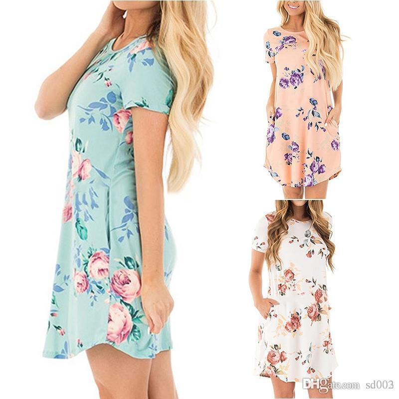 Hot Summer Pocket Mini Skirts Six Colors Round Neck Flower Printed Short Sleeves Dresses Womens Sexy Home Clothes 18my E1