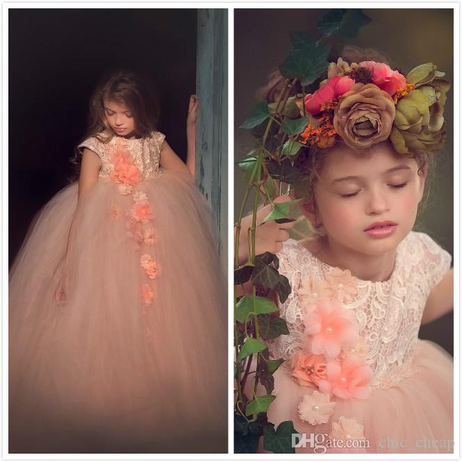 Peach Pink Lace Flower Girl Dresses Tulle Hand Made Flowers Little Girl Wedding Dresses Vintage Pageant Dresses Gowns F086