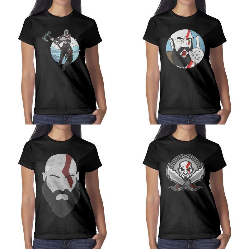 Womens design printing God of War Kratos Knife black t shirt undershirt graphic crazy band shirts slogan shirt cute novelty face MAH