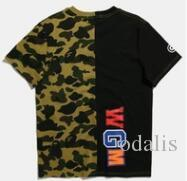 Mens Camouflage Panelled T Shirts Fashion Printed Designer Tees for Summer in 2 Colors Free Shipping