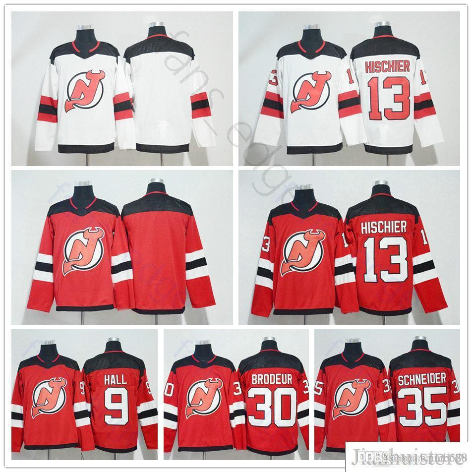 2019 2018 New Season New Jersey Devils Hockey 9 Taylor Hall 13 Nico  Hischier 30 Martin Brodeur 35 Cory Schneider Blank Red White Jersey From  Pinbo88 dfc486d0b